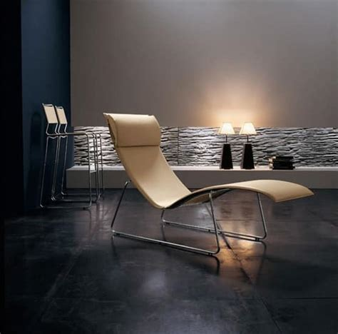 chaise longue relax lounge chair in chrome metal leather covering idfdesign