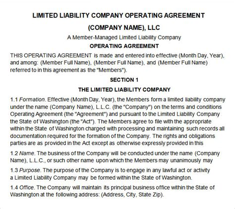 Llc Partnership Agreement Template partnership agreement 9 free pdf doc