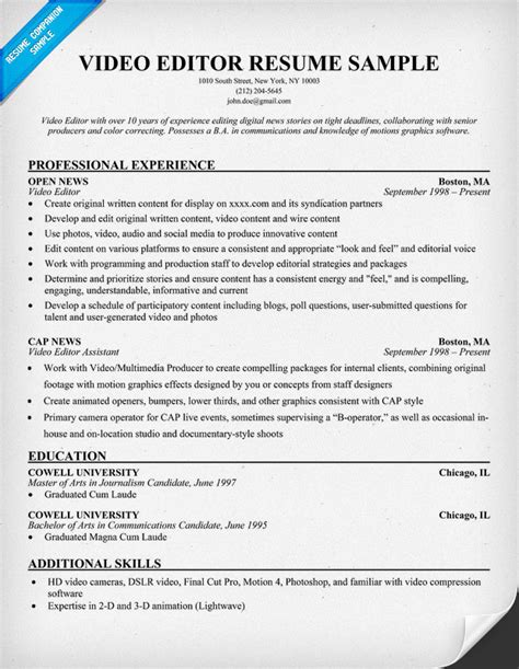 Resume Format: Resume Format For Video Editor