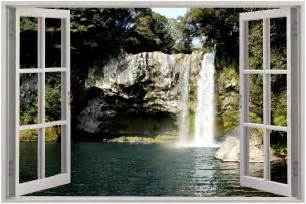 cheap wall murals uk huge 3d window view waterfall wall sticker film mural art