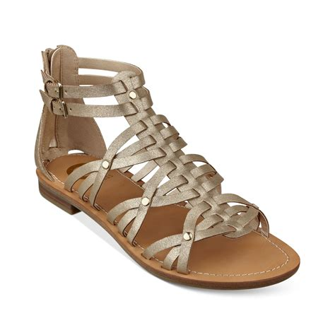 guess gladiator sandals g by guess hendal gladiator sandals in gold lyst