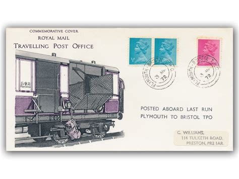 plymouth to bristol buckingham covers 3rd march 1972 travelling post office