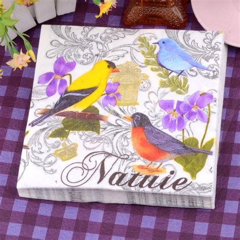 Decoupage Wholesale - food grade floral bird paper napkins food festive