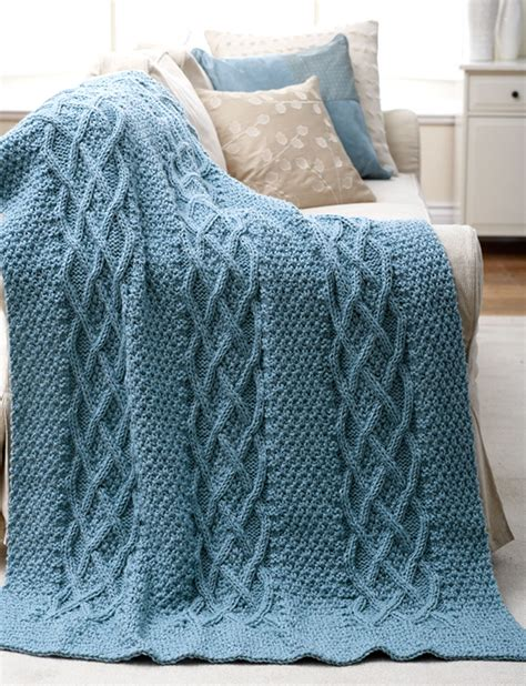 knitting afghan patterns patons cushy cables afghan knit pattern yarnspirations