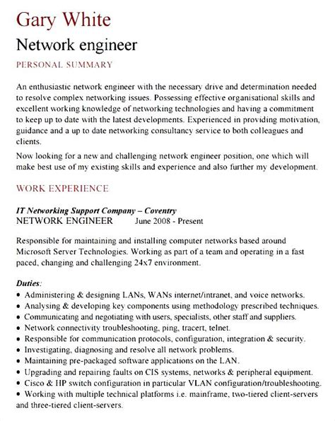 network engineer curriculum vitae sle sle network engineer cv template free sles exles format resume curruculum vitae