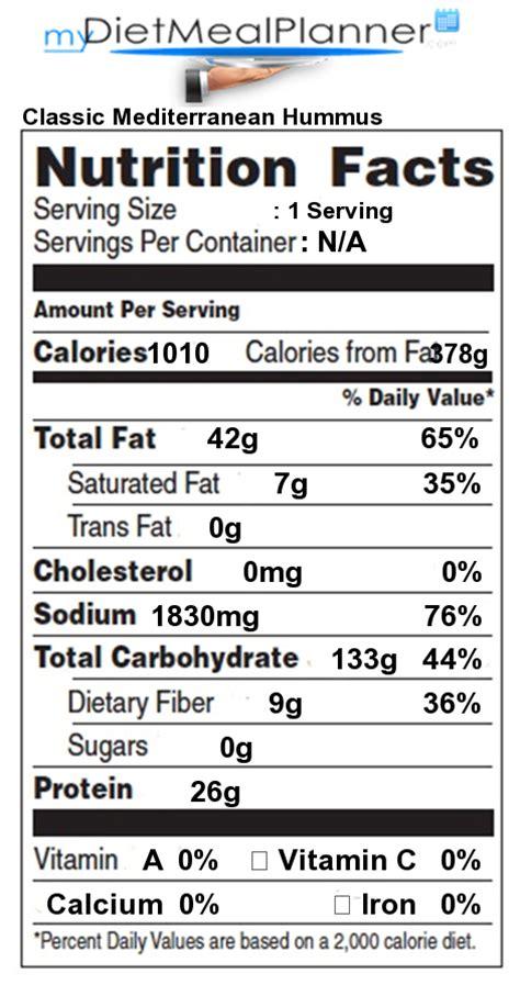 calories in classic mediterranean hummus nutrition facts for classic mediterranean hummus