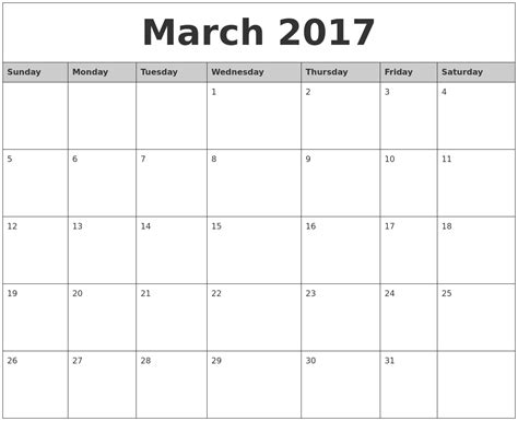 Calendar 2017 Monthly Printable March 2017 Monthly Calendar Printable