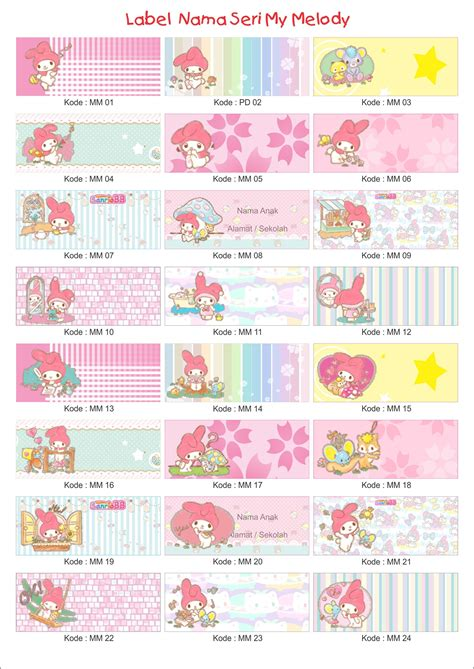 Sticker Label Foto Nama Seri Melody jual grosir label stiker nama anak my melody sprint