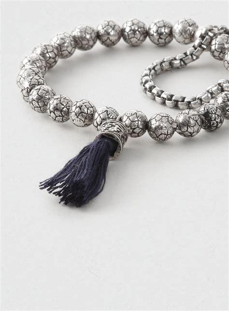 beaded tassel bracelet topman beaded tassel bracelet multipack in blue for