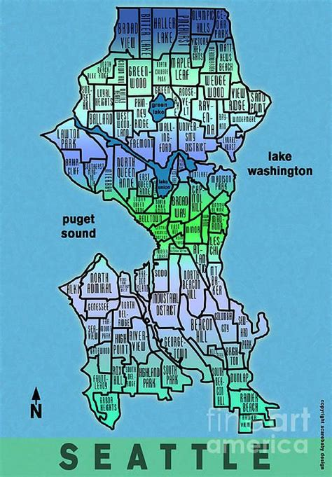 seattle map rust seattle neighborhoods print products and prints