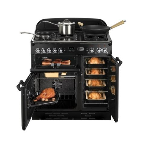 Accessoire Barbecue 1464 by Classic 90 Electric Ceramic Range Cooker Black With Brass Trim