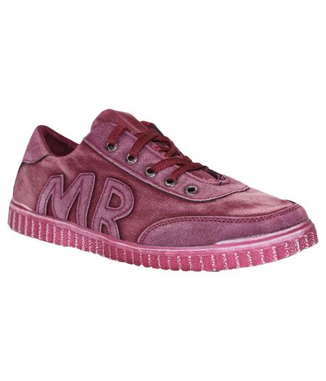 buy pineberry maroon canvas casual shoes for
