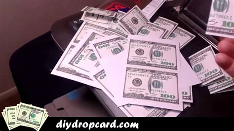 folded money template money drop cards do it yourself 100 bill drop card template 5