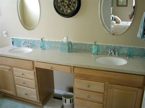 How To Put Up Backsplash In Bathroom by Glass Tile Backsplash Traditional Bathroom Cleveland