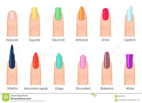 Your Nail Type by Nails Shape Icons Set Types Of Fashion Bright Colour Nail