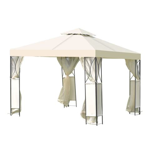 Patio Gazebo 10 X 10 2 Tier 10 X 10 Patio Steel Gazebo Canopy Shelter Canopies Gazebos Outdoor Structures