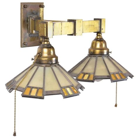 Mission Sconce Cast Brass Mission Two Arm With Glass Shades Circa