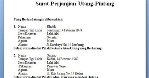 contoh surat perjanjian lengkap 2013 gudang info