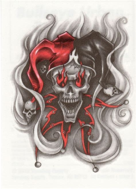 clown tattoos brilliant evil jester skull with flames in