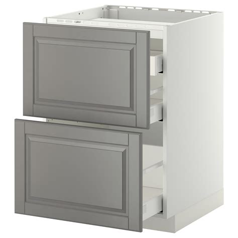 ikea kitchen bodbyn base cabinet with 3 drawers 1 metod maximera base cab f hob 2 fronts 3 drawers white