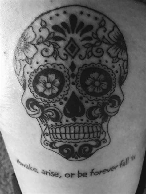 paradise lost tattoo day of the dead sugar skull with quote from