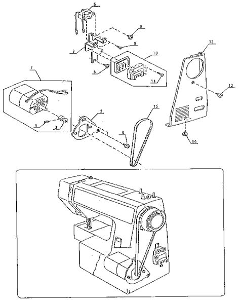 kenmore sewing machine parts diagram motor assembly diagram parts list for model 38512714090