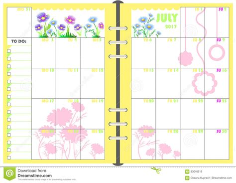 daily planner template vector daily planner july 2017 stock vector image 83046516
