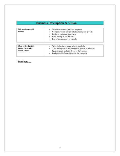 small business plan template printable