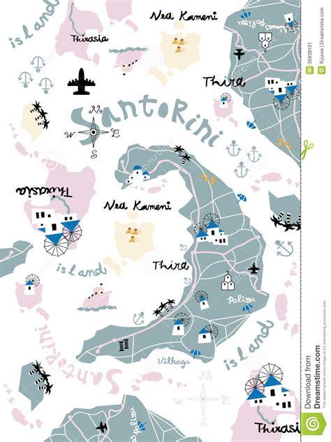 Karet Boot Trail santorini karte stockbild bild 36838131