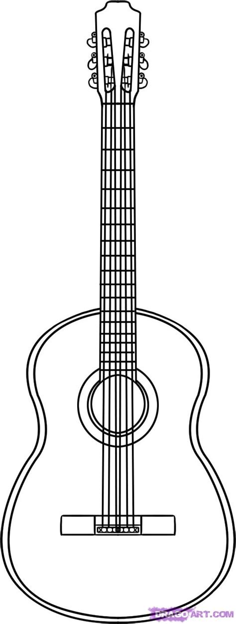 Acoustic Guitar Outline Drawing by How To Draw A Guitar Step By Step String Musical