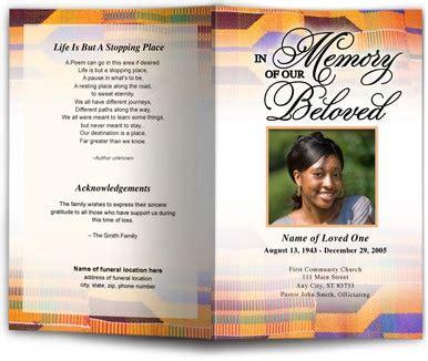 kente letter single fold program template  funeral
