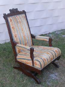 antique arts crafts carved walnut platform rocker chair