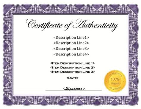 certificate of authenticity template 37 certificate of authenticity templates car