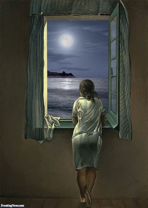 looking out window looking out window at moon painting pictures freaking news
