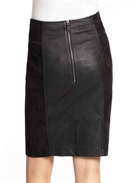 burberry brit leather suede skirt in black lyst