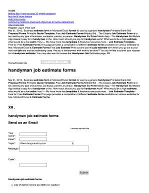 Free Job Proposal Forms Templates Fillable Printable Sles For Pdf Word Pdffiller Handyman Estimate Forms Templates