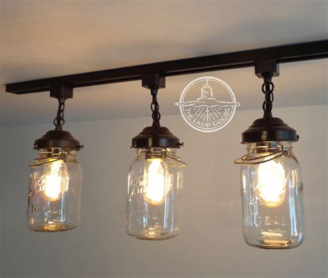 Track Lighting Chandelier Jar Track Lighting Fixture Trio With Vintage Quarts