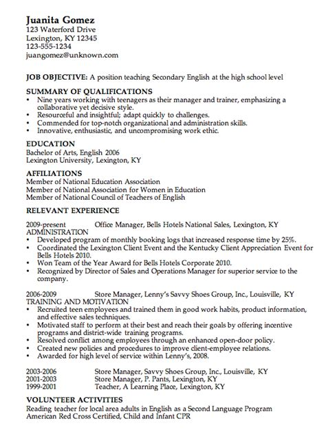sle of a resume for a highschool columbia teachers college resume sales lewesmr