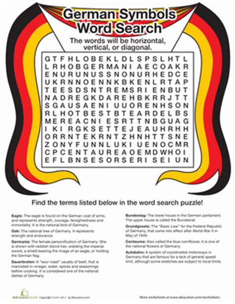 Germany Search Countries Word Search Germany Worksheet Education