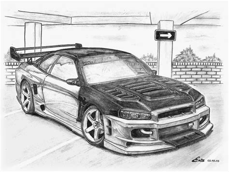 nissan skyline drawing by skyline car drawing pixshark com images galleries