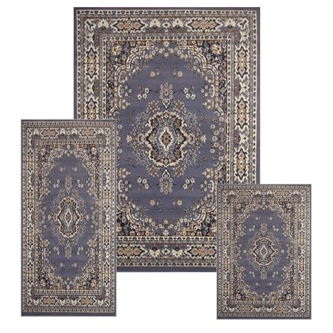 Area Rug And Runner Sets traditional medallion blue 3 pcs area rug