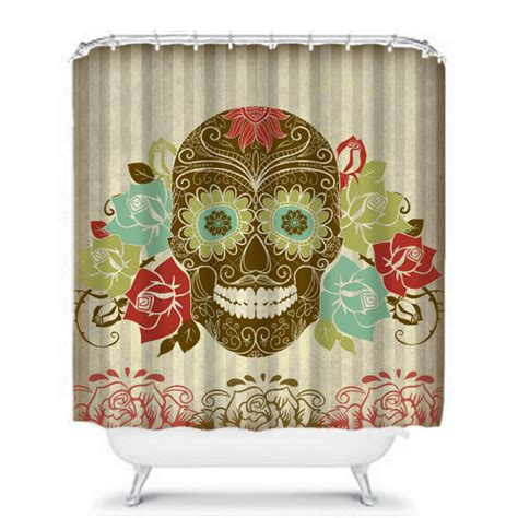 sugar skull curtains sugar skull shower curtain grunge design roses