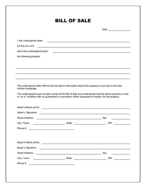 House Bill Of Sale Template printable bill of sale template blank bill of sale form
