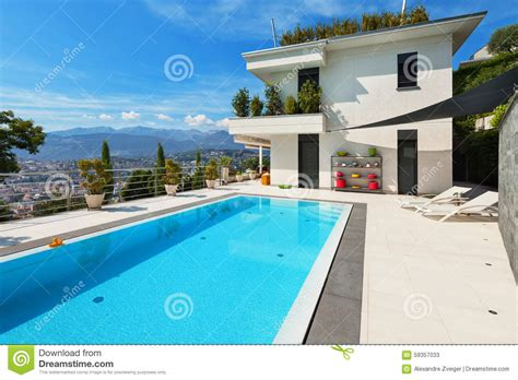 beautiful all white house with pool white house with swimming pool stock photo image 59357033