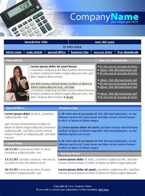 Business Company Newsletter Template Templatesbox Com Accounting Newsletter Templates