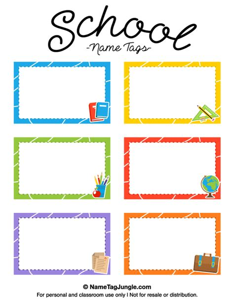 Free Printable School Name Tags The Template Can Also Be Used For Creating Items Like Labels School Photo Templates Free