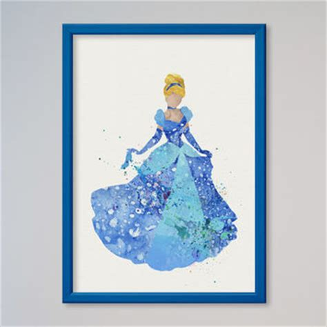 free cinderella painting disney castle poster framed watercolor from ladecor my
