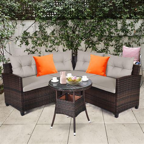 gymax pcs patio furniture set outdoor rattan sectional