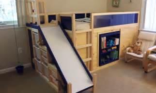 diy ikea loft bed jm allcreated ikea hack bunk bed slide secret room diy 1 grandbabies pinterest awesome