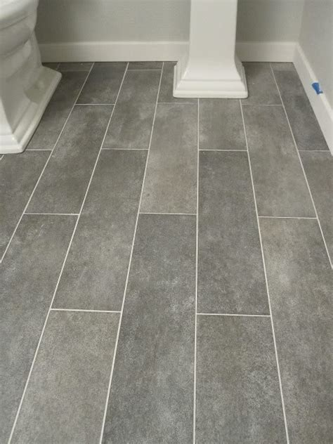 wide plank tile  bathroom great grey color  love